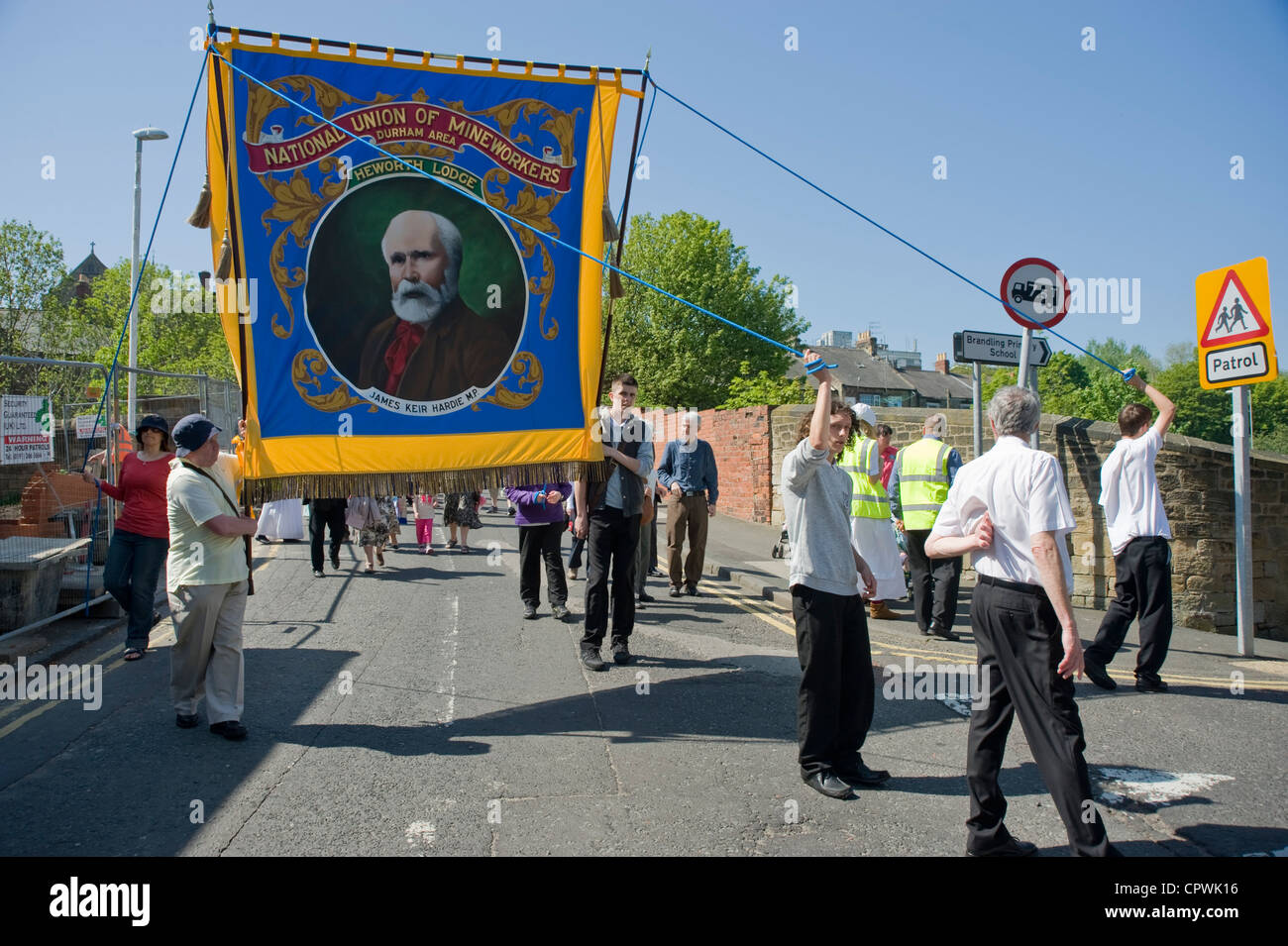 Banner of Kier Hardie during commemoration of Felling mining disaster, Carlisle Street, Felling. - Stock Image