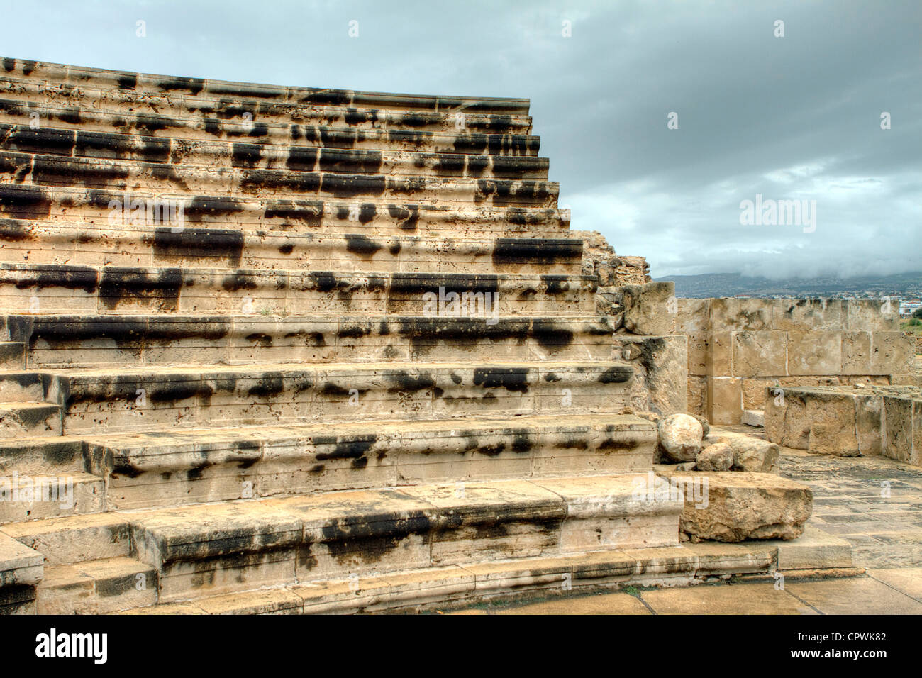 The odeon in the grounds of paphos castle Stock Photo