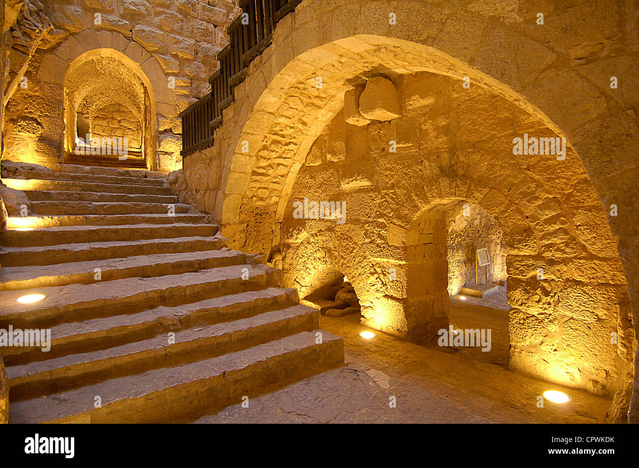 Asia Jordan Ajloun Castle of  Ar Rabad Stock Photo