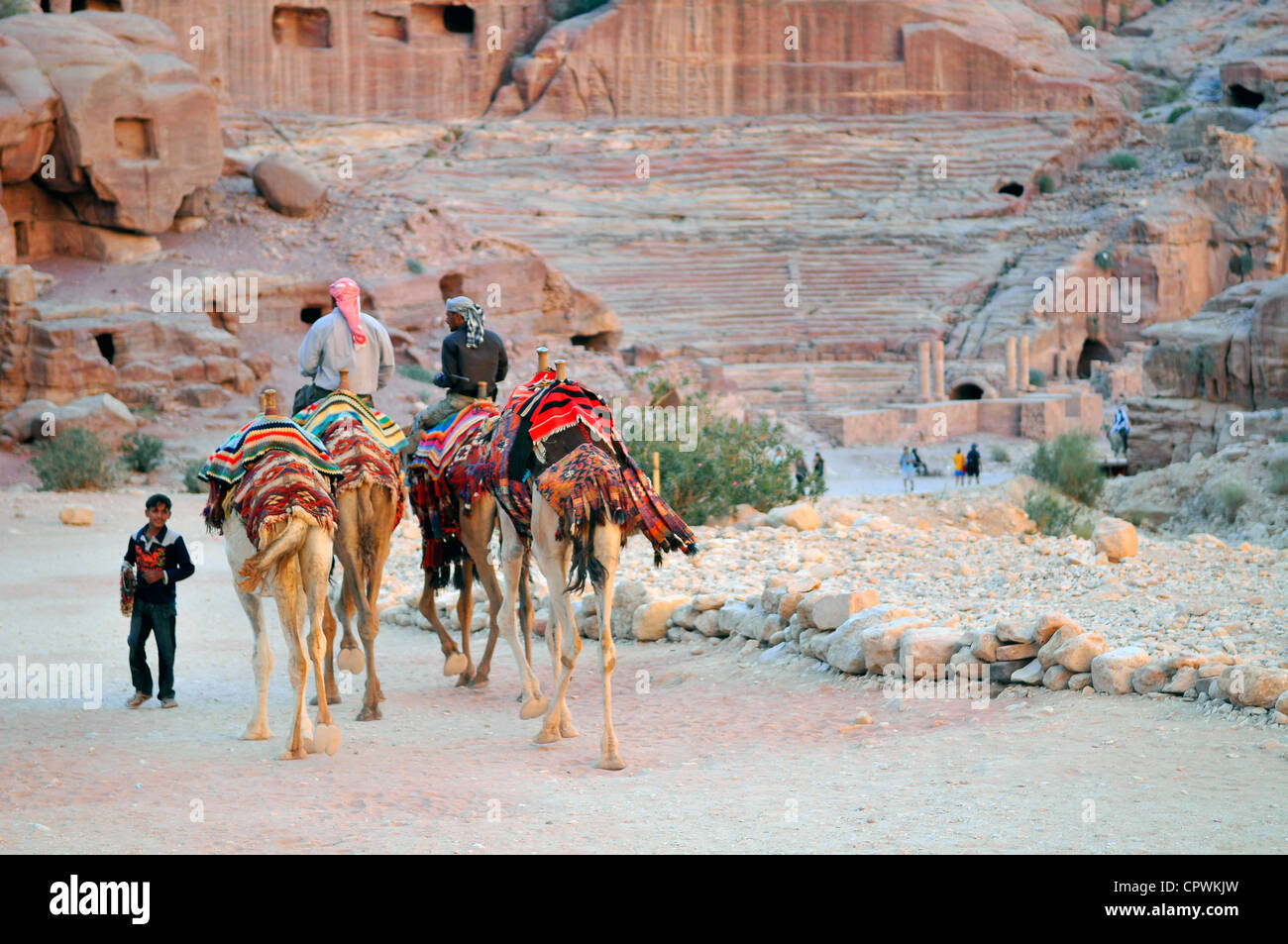 Asia Jordan Petra The main street of Petra and the Roman theater in the background - Stock Image