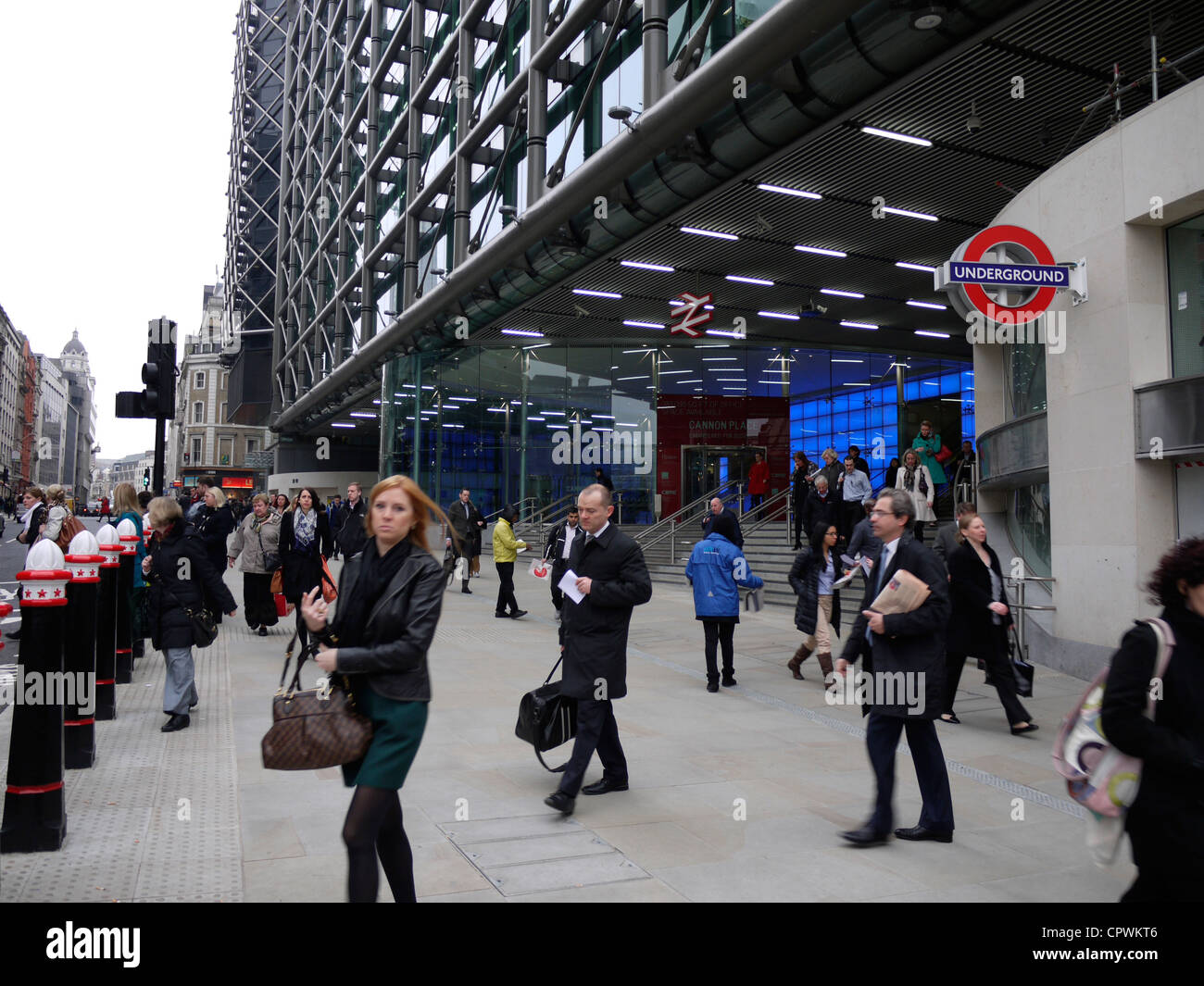 Cannon Street station entrance to railway station refurbished in 2012 - Stock Image