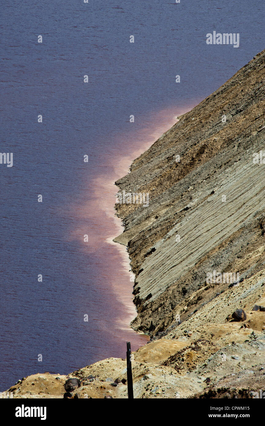 Part of the Butte, Montana's Berkeley Pit. The pit was opened in 1955 and filled with contaminated water. - Stock Image