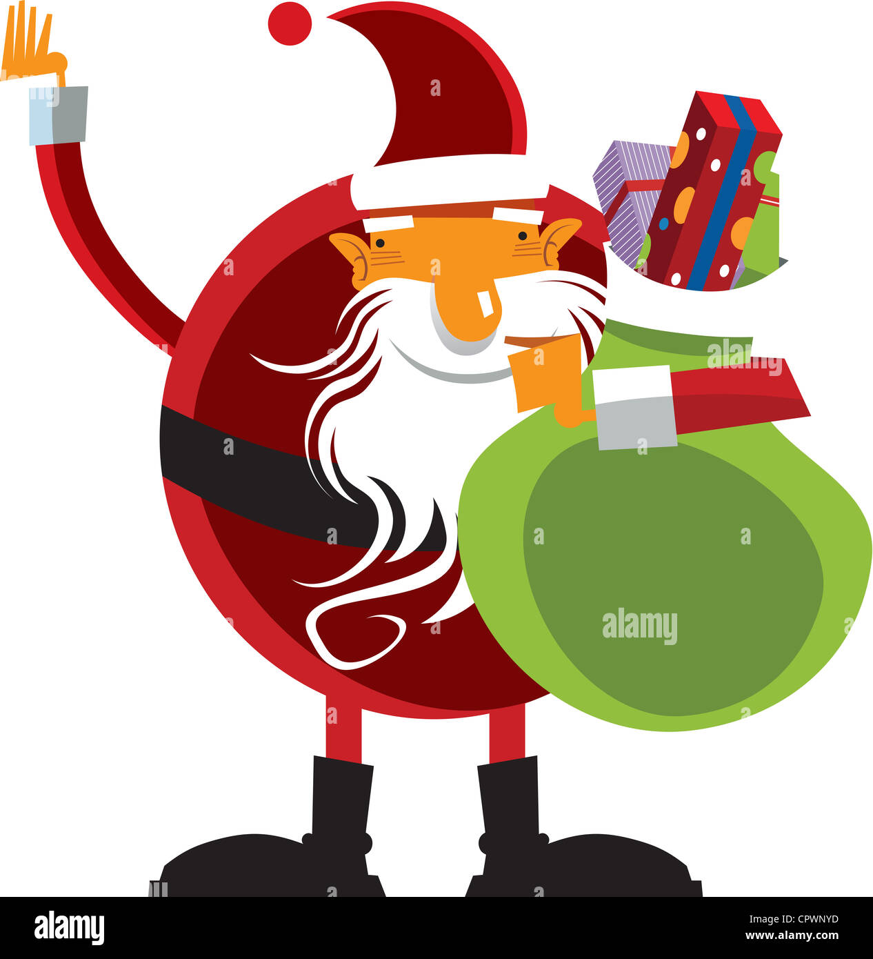 Santa holding a sack full of presents - Stock Image