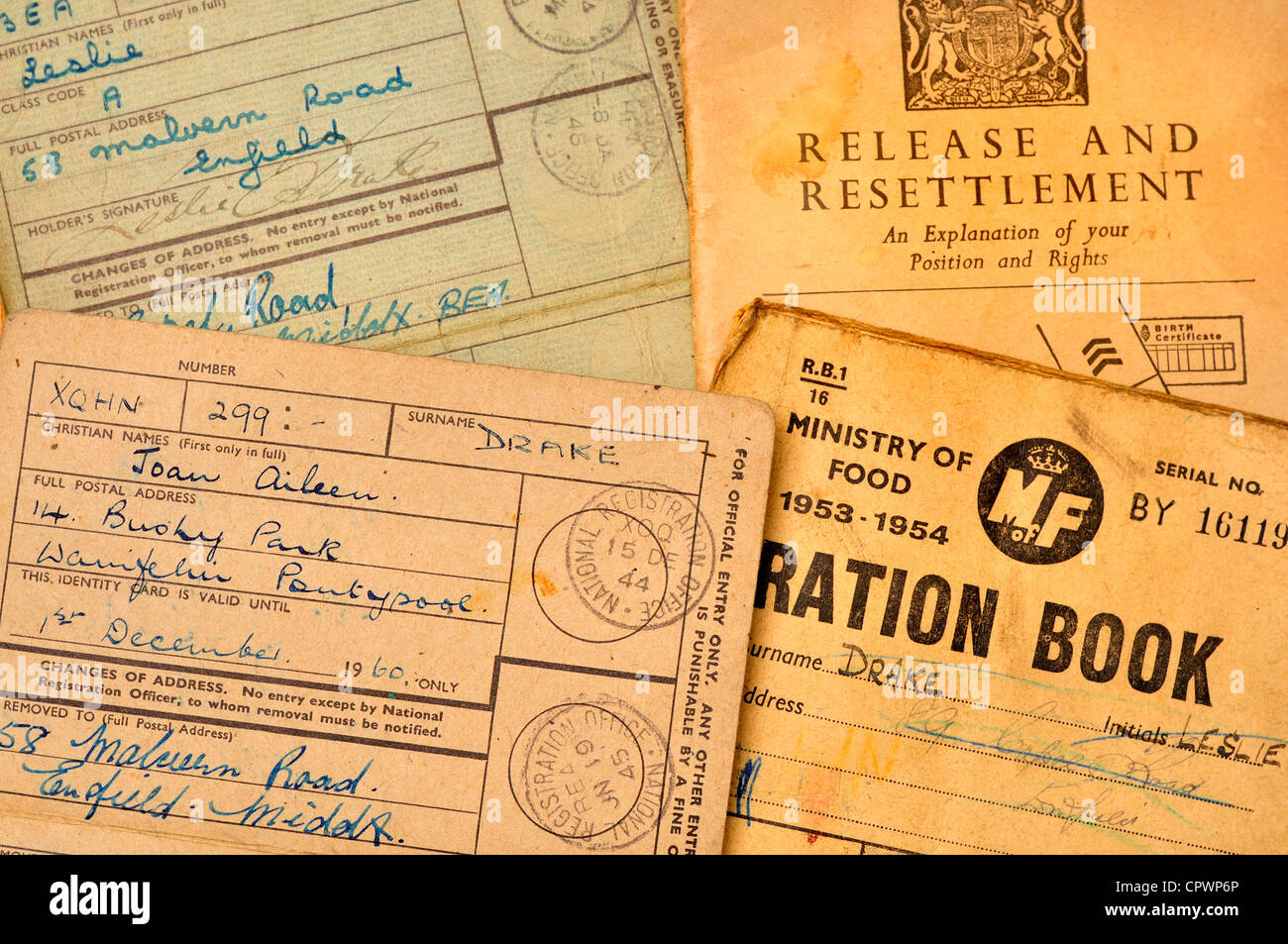 Post World War 2 ration book, identity cards and 'Release and Settlement' advice - Stock Image