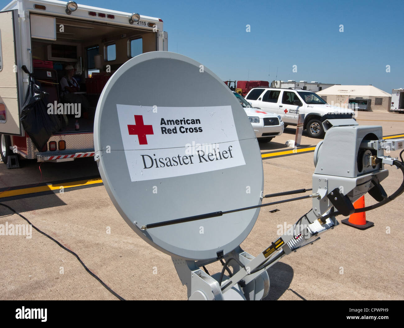 American Red Cross disaster relief satellite set-up during a hurricane preparedness training exercise in Austin, - Stock Image