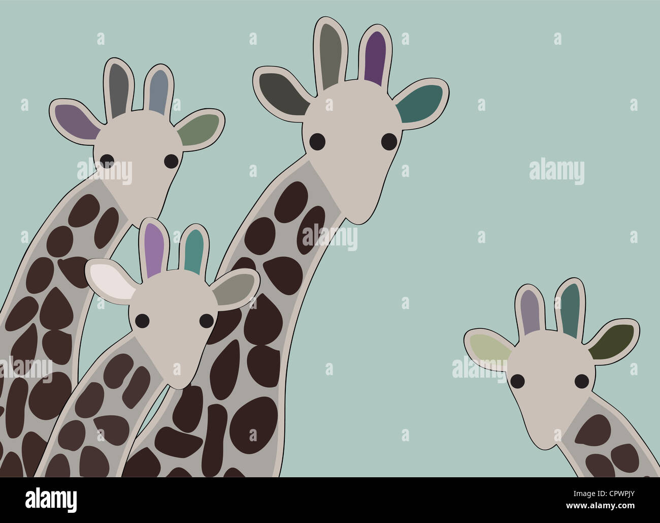 Giraffe family looking surprised, with green background Stock Photo