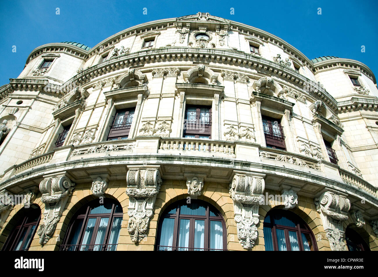 The elaborate façade of the 19th-century Arriaga theatre in Bilbao, its style described as eclectic - Stock Image