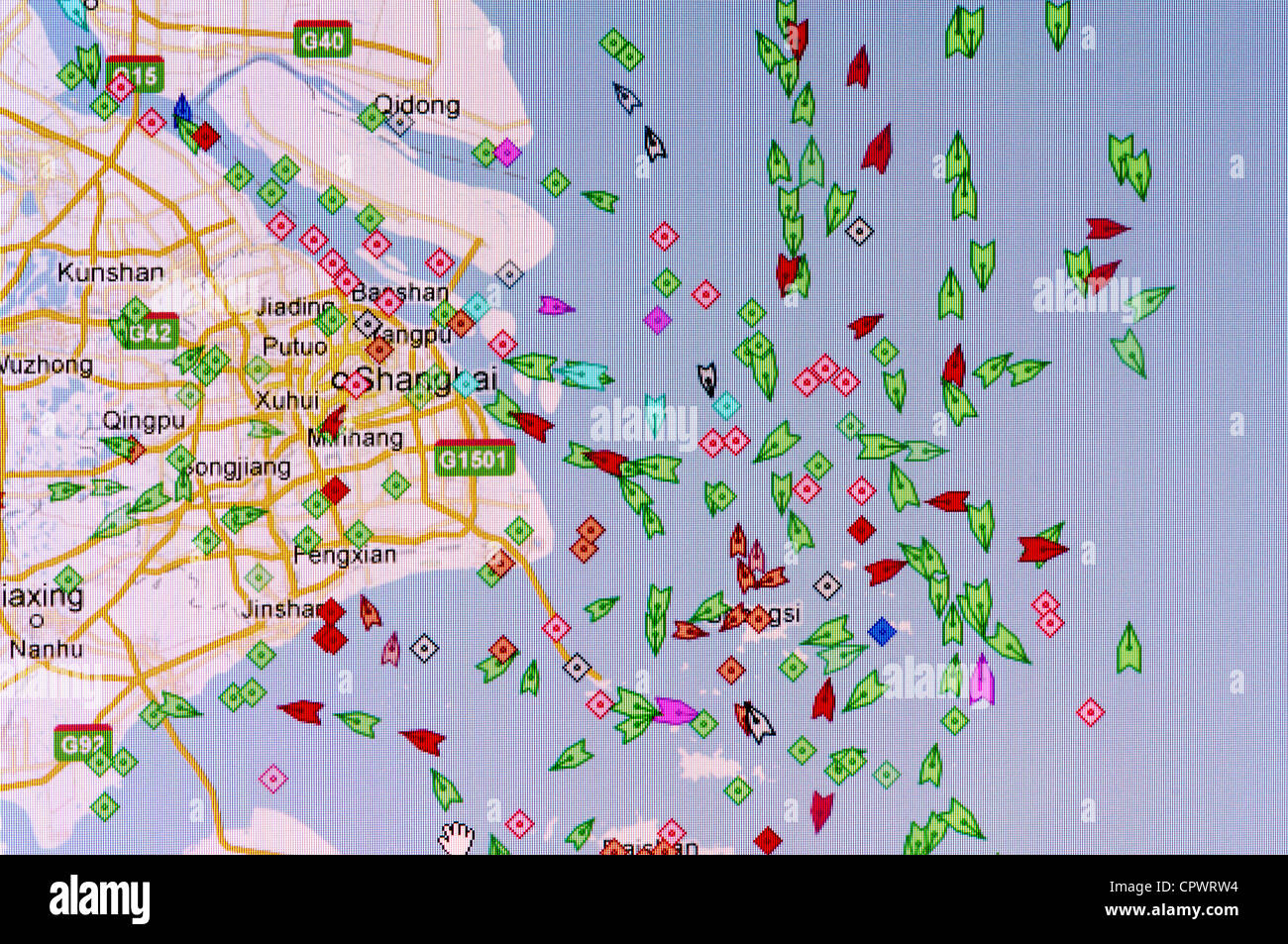 Screen shot showing real time shipping traffic from Shanghai in the East China Sea - Stock Image