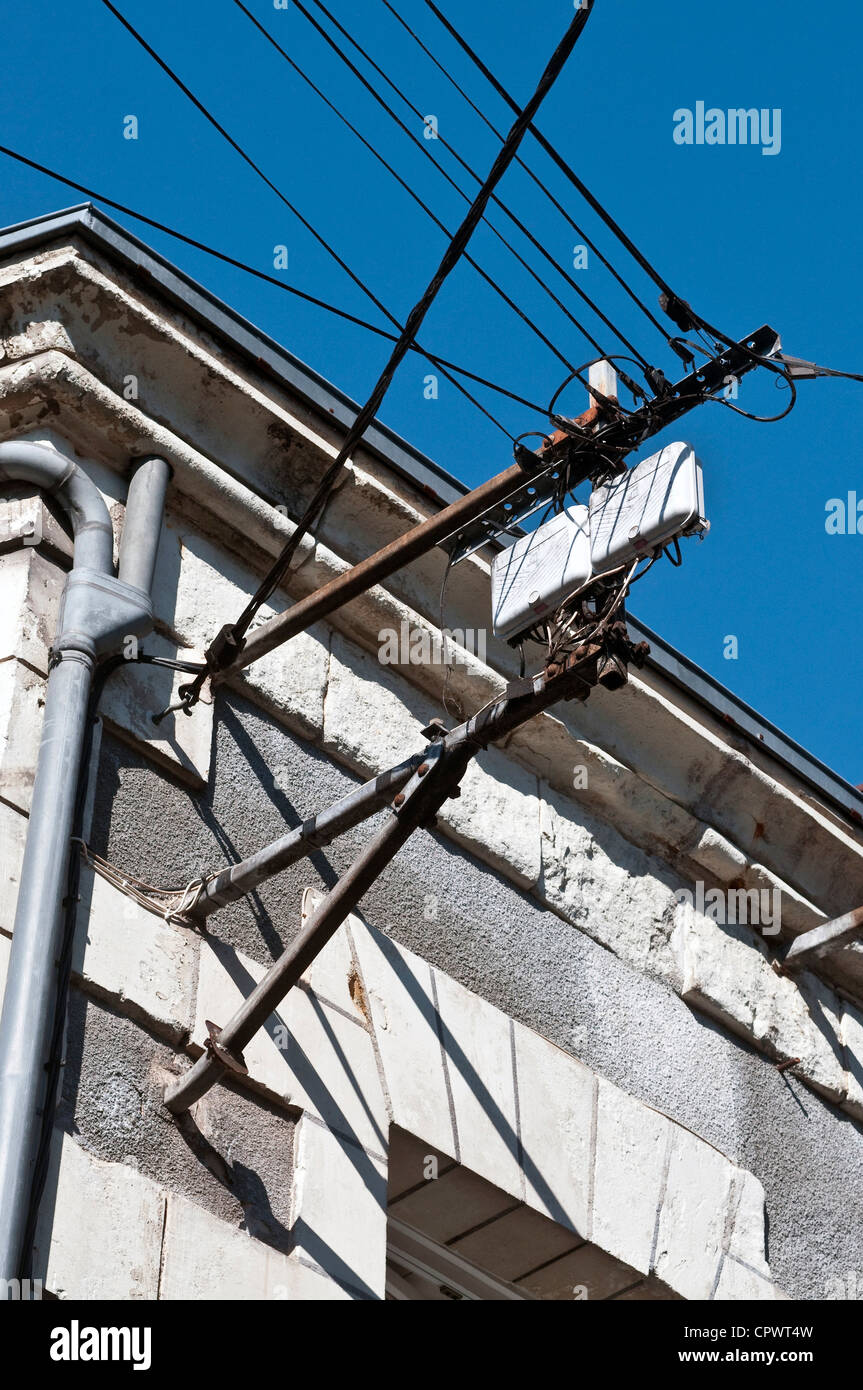 Old Wiring Stock Photos Images Alamy House Electricity Equipment On Wall France Image