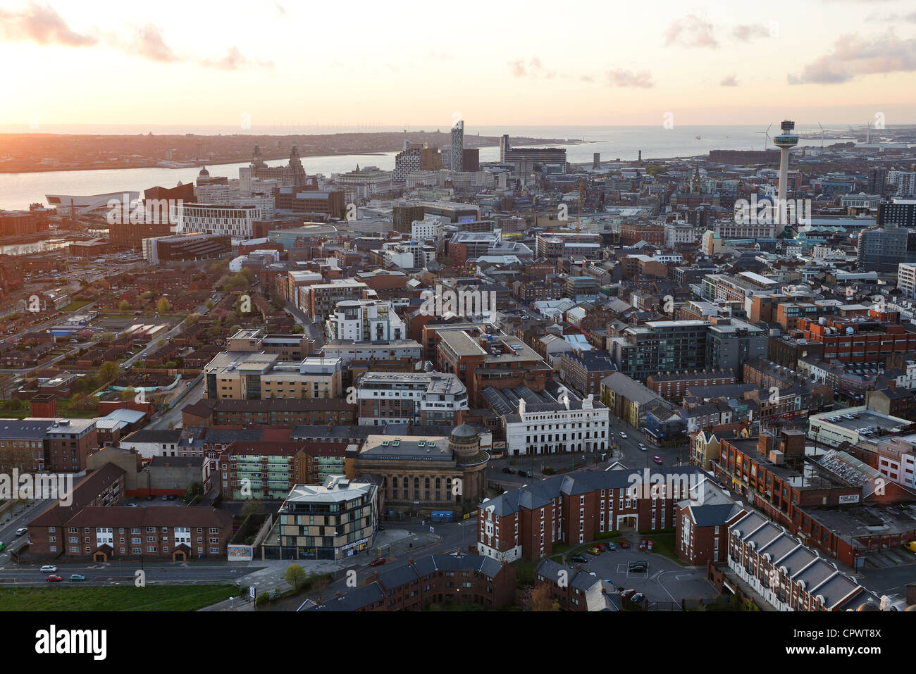 Liverpool city centre at dusk - Stock Image