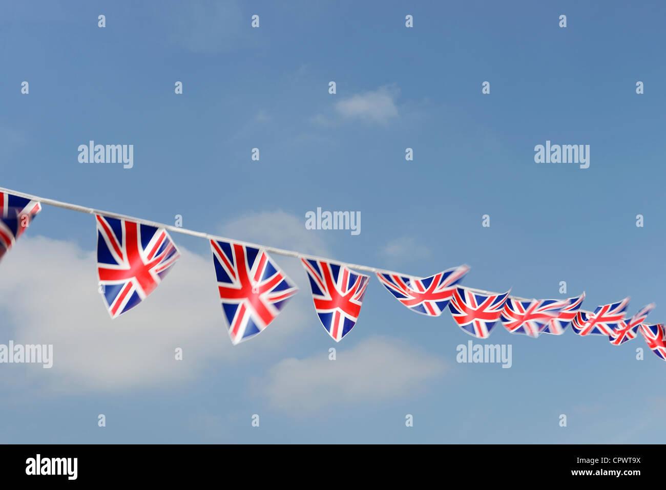 UK Union Jack flag bunting - Stock Image