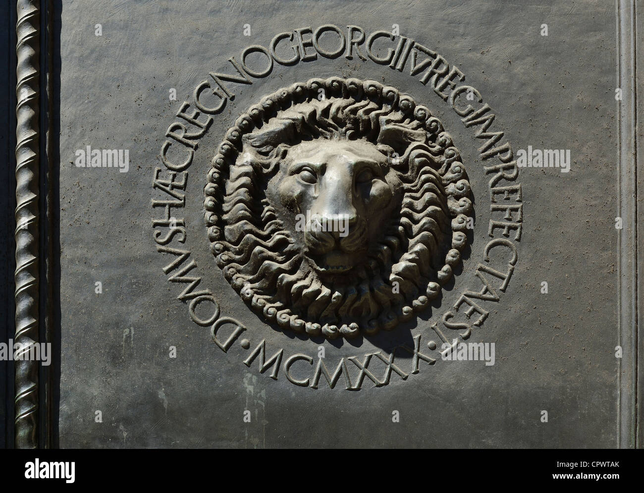 Ornate metal door detail on The Bank of England - Stock Image