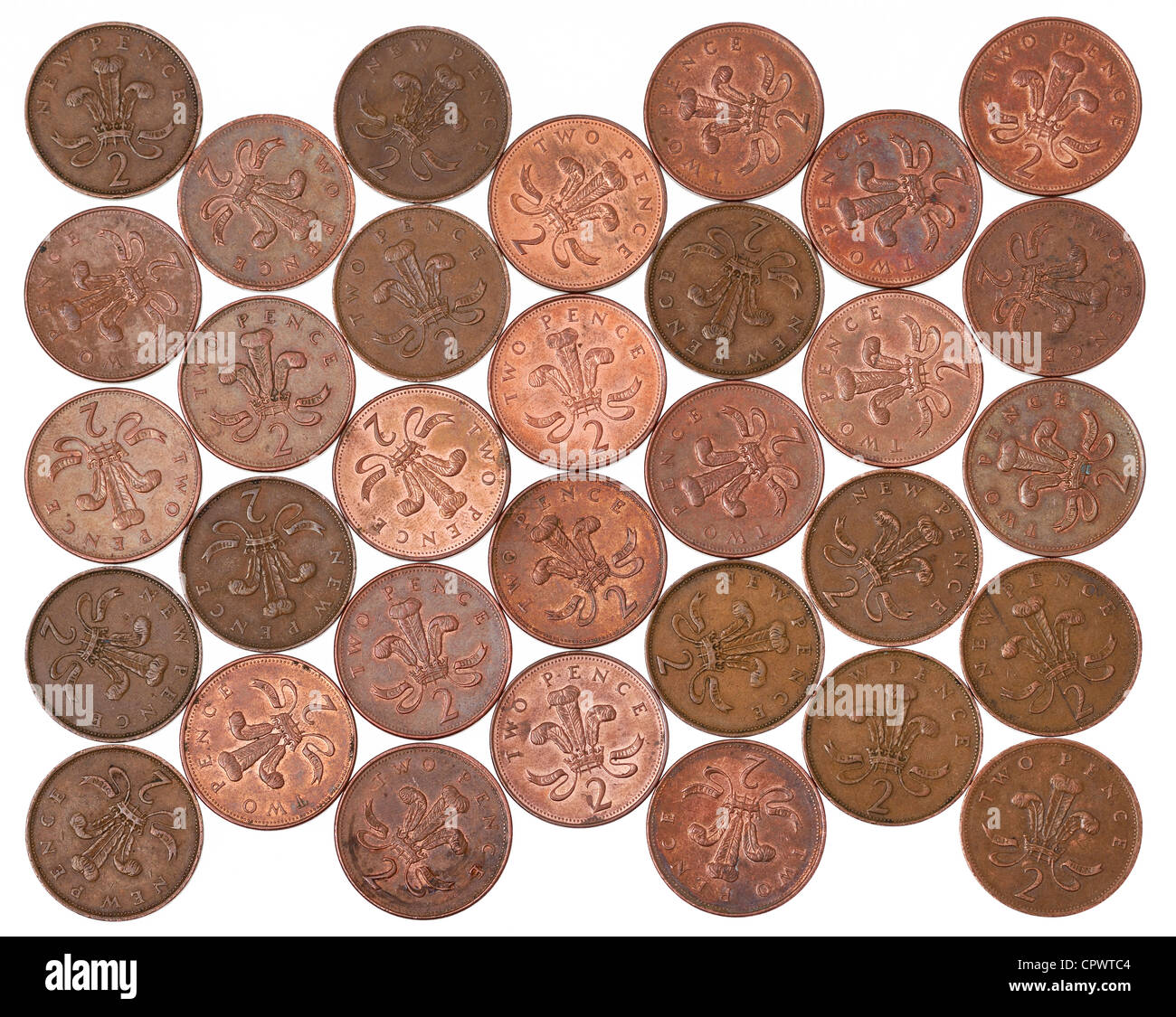 UK 2p coins - Stock Image
