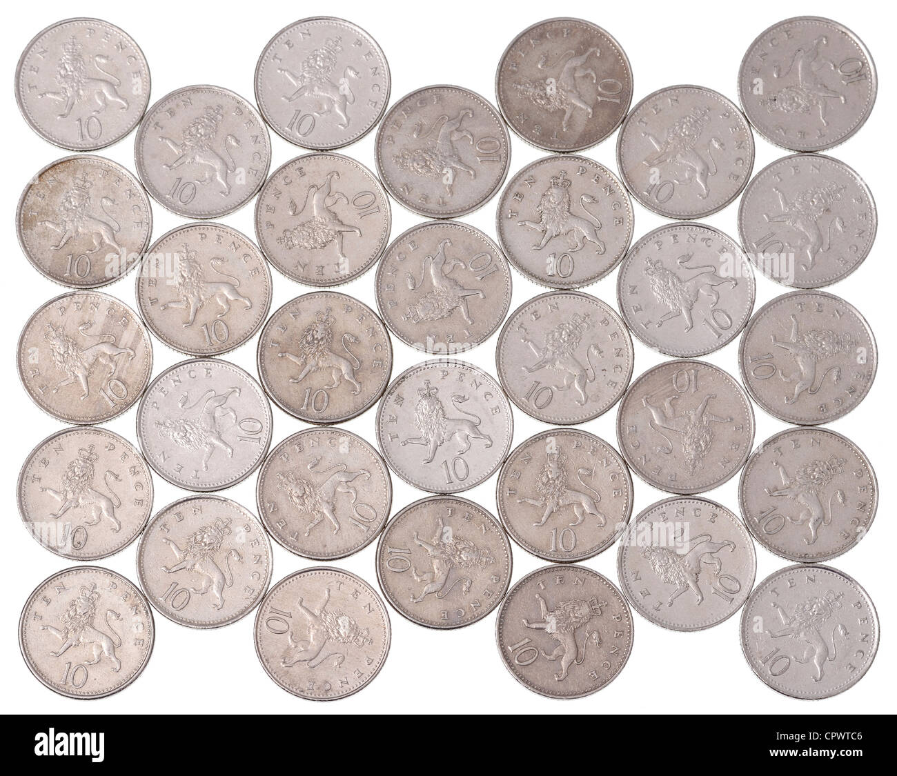 UK 10p coins - Stock Image