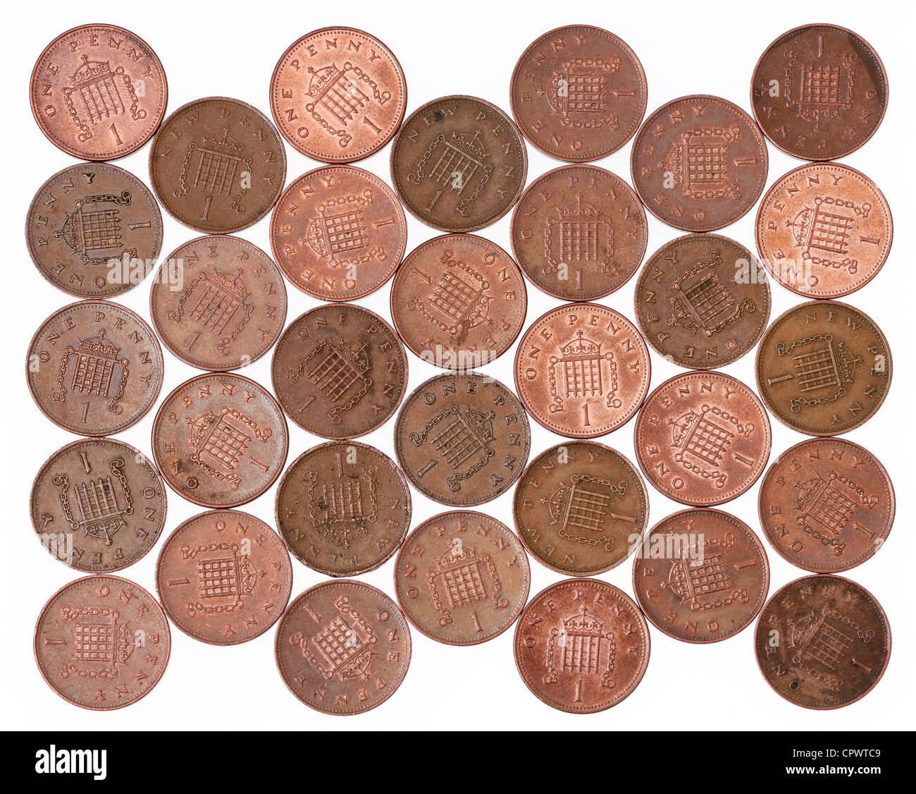 UK 1p coins - Stock Image