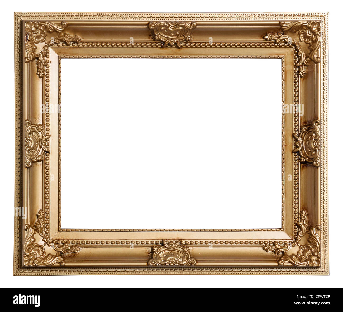 Gold coloured plastic picture frame - Stock Image