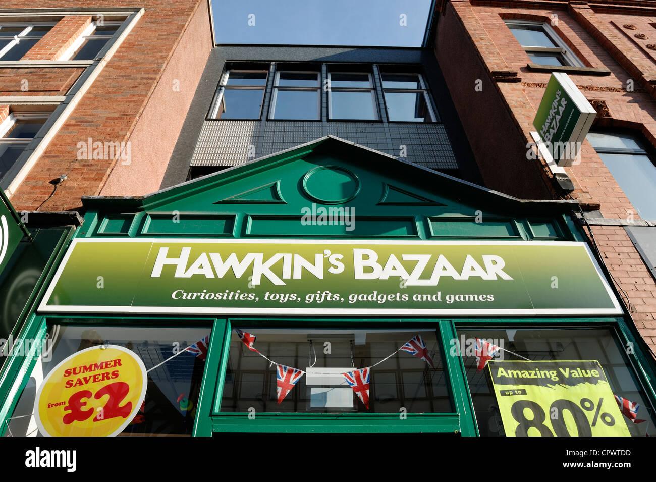 Hawkins Bazaar shop front sign - Stock Image