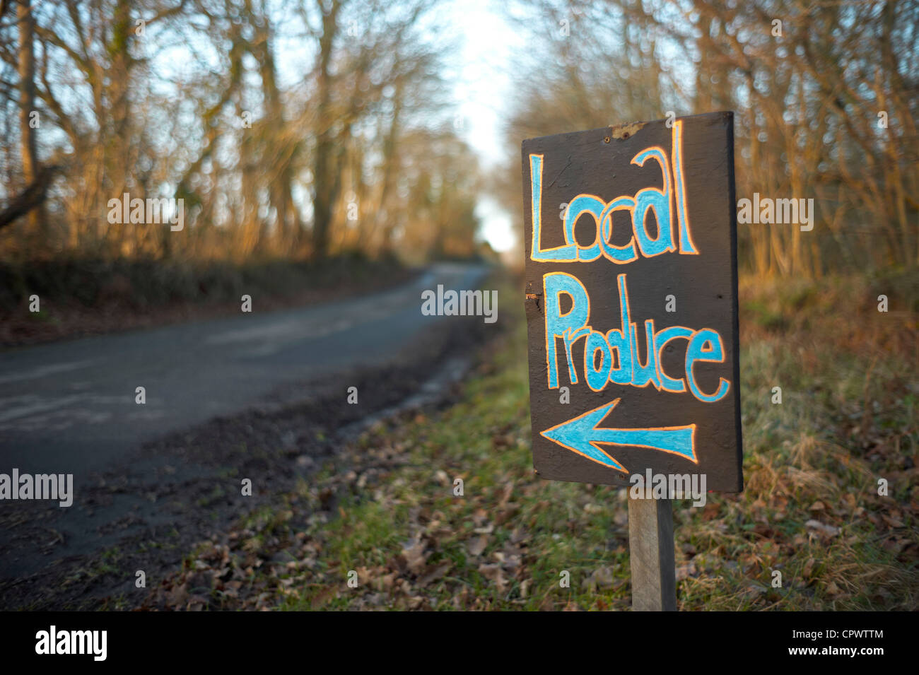 Local Produce for sale sign at embercombe near Haldon in Devon - Stock Image