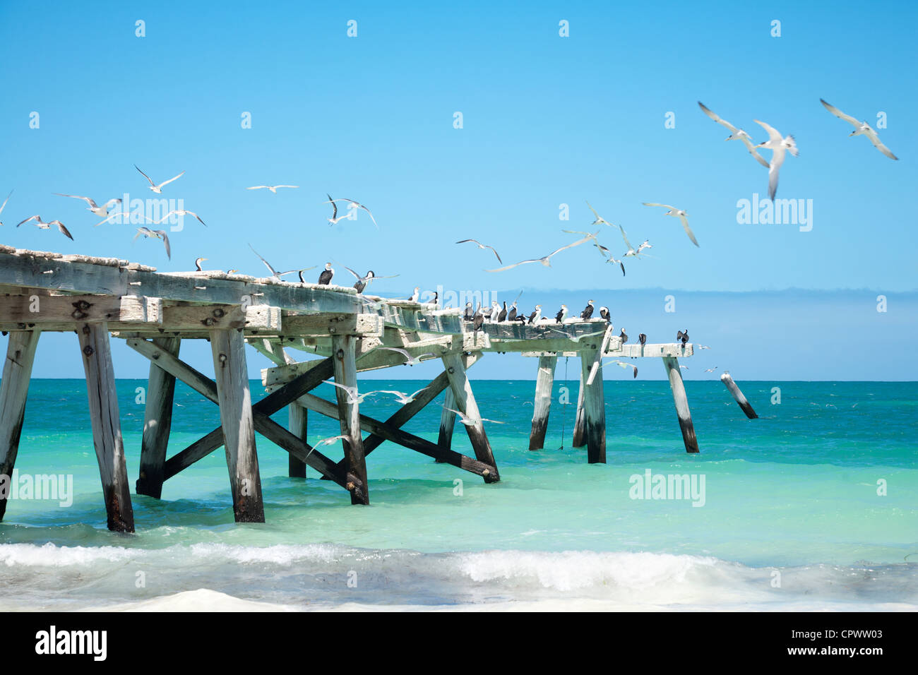 The old jetty at Eucla, Western Australia. - Stock Image