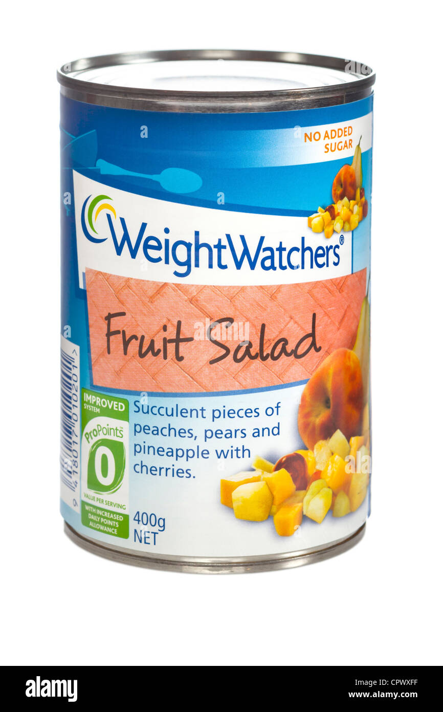 A can of WeightWatchers fruit salad. - Stock Image