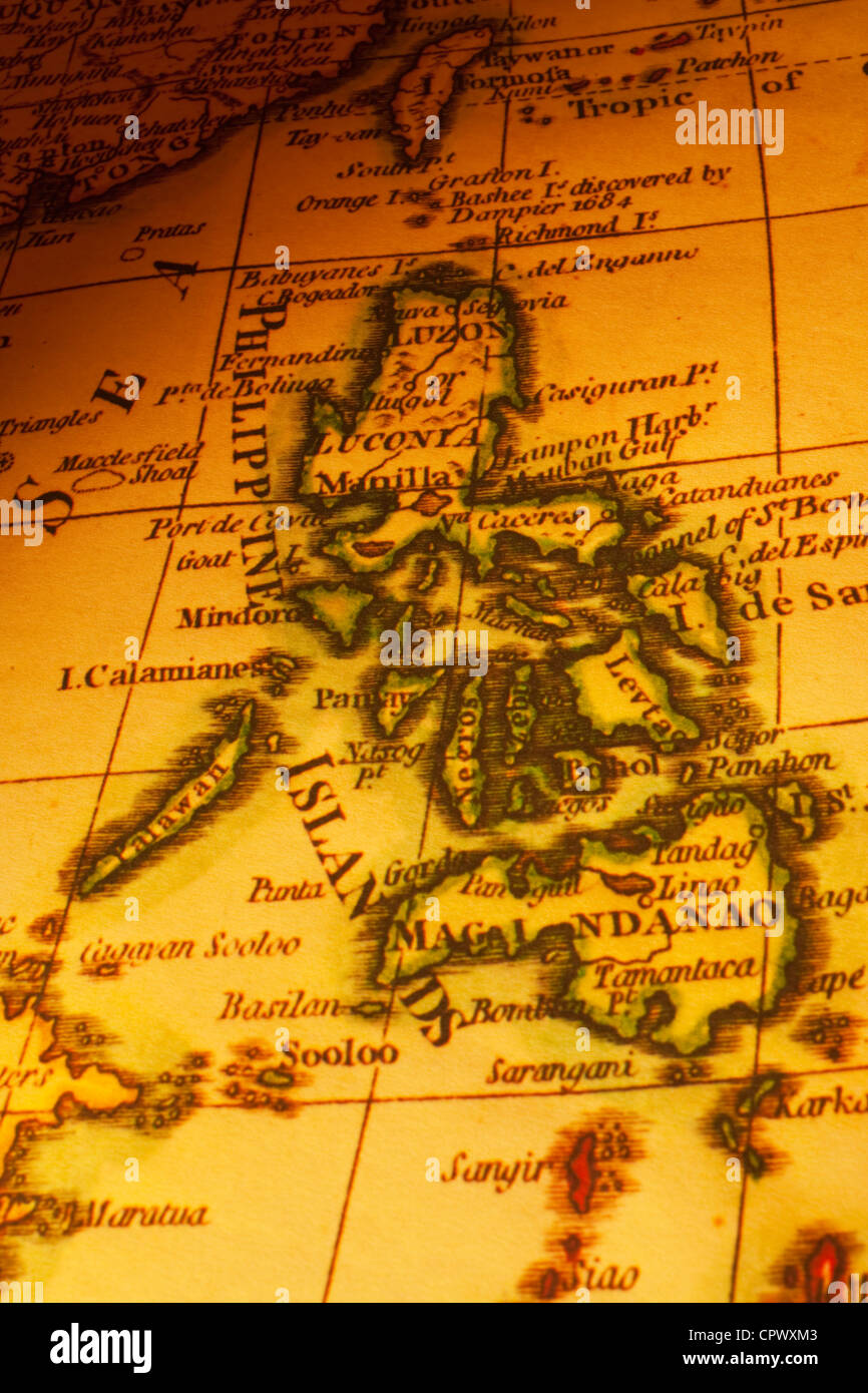 Old map of the Philippines or Philippine Islands, focus on Manila ...