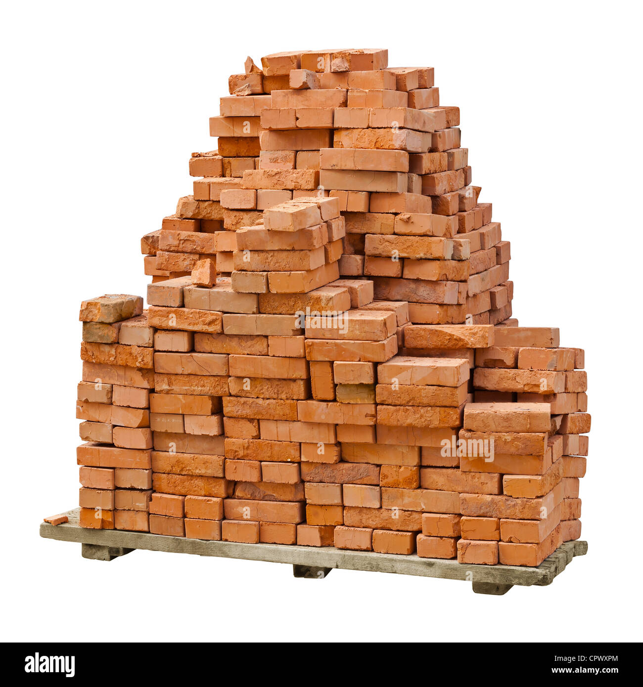 A stack of red clay bricks isolated on a white background - Stock Image