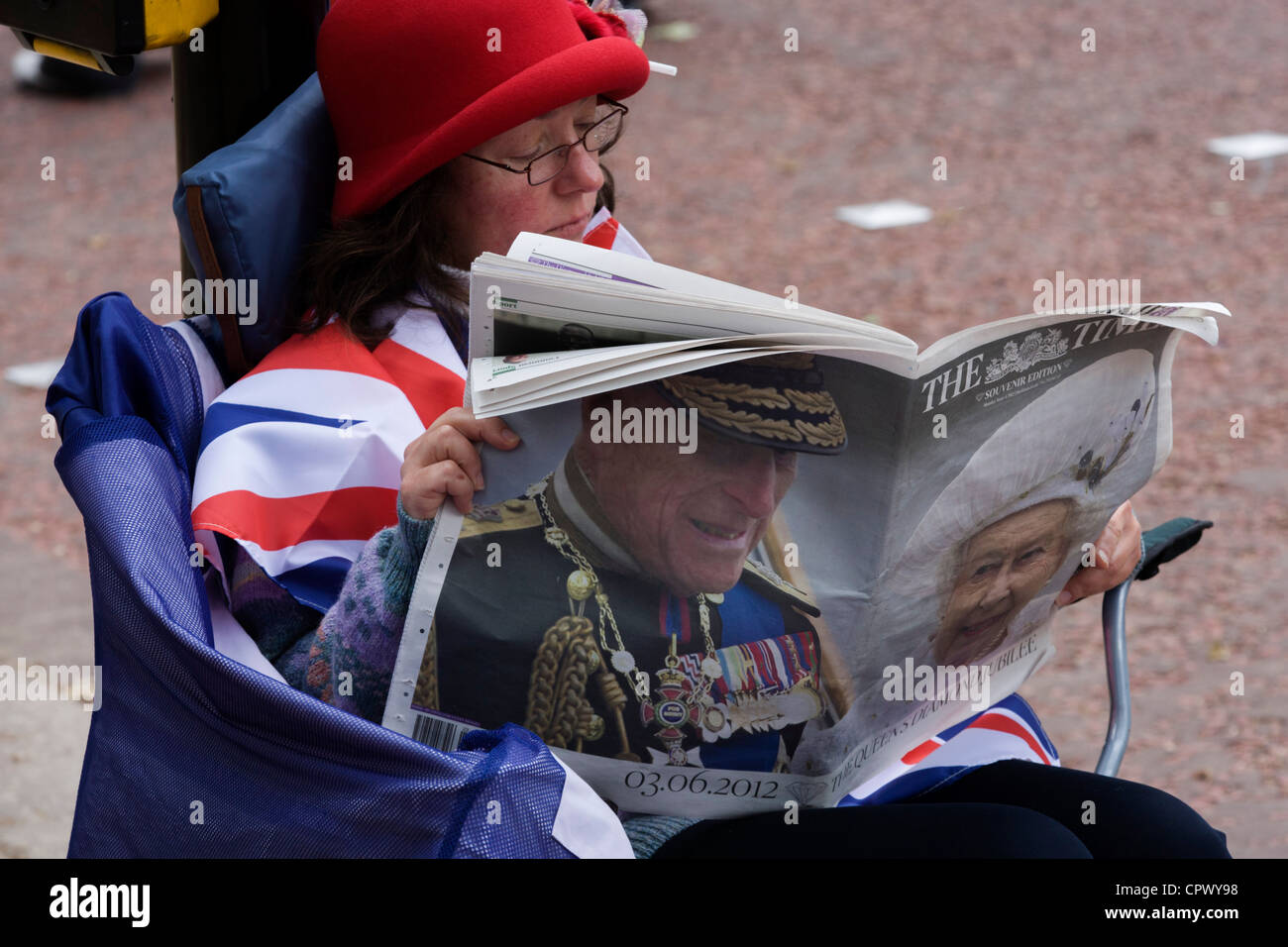 Monarchists celebrate their Queen's Diamond Jubilee weeks before the Olympics come to London. The UK gears enjoys Stock Photo