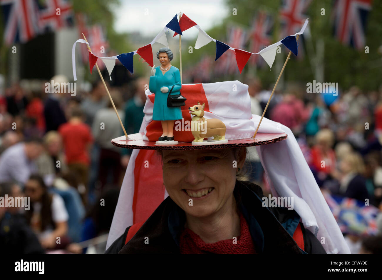 Monarchists celebrate their Queen's Diamond Jubilee weeks before the Olympics come to London. The UK enjoys a weekend Stock Photo