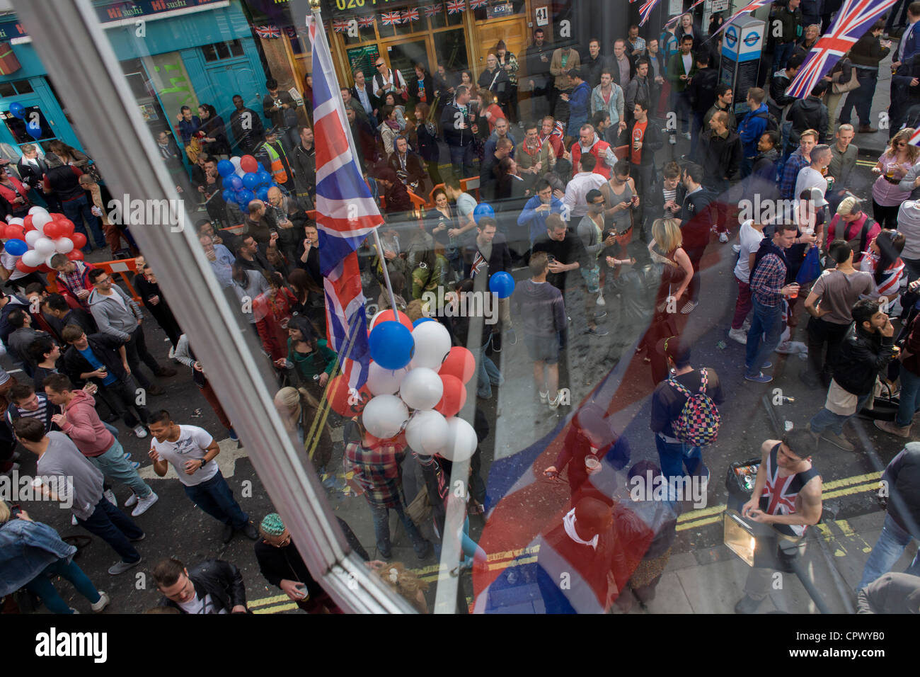Soho celebrates the Queen's Diamond Jubilee weeks before the Olympics come to London. The UK gears enjoys a weekend Stock Photo