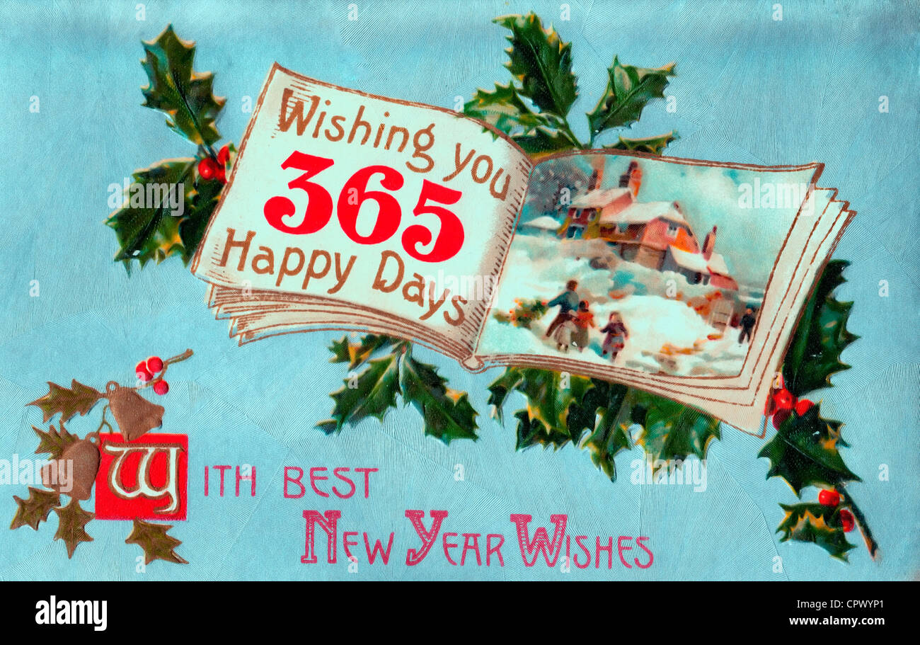with best new years wishes wishing you 365 happy days vintage card