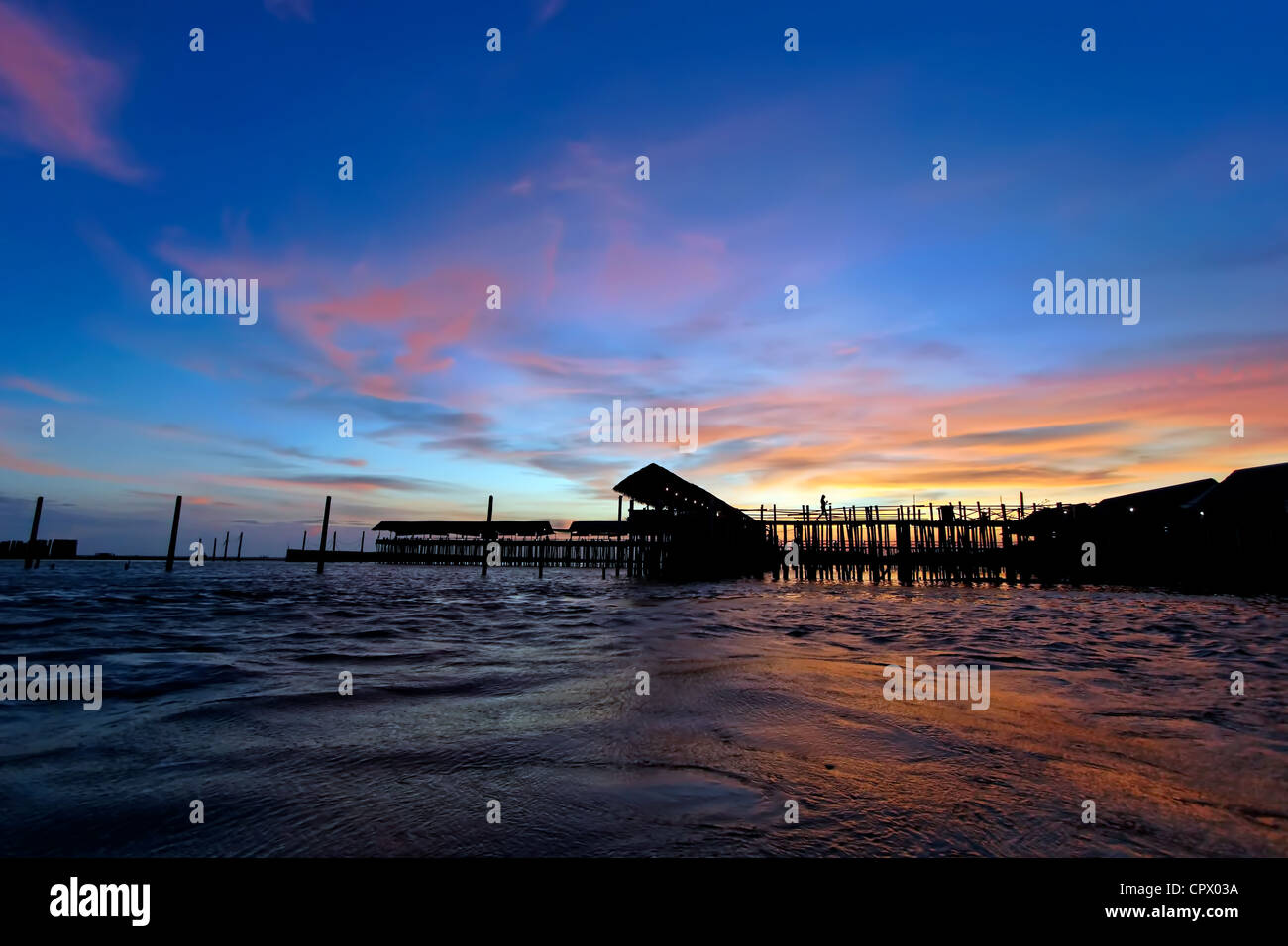 Remains of the Day on the Gulf of Thailand - Stock Image