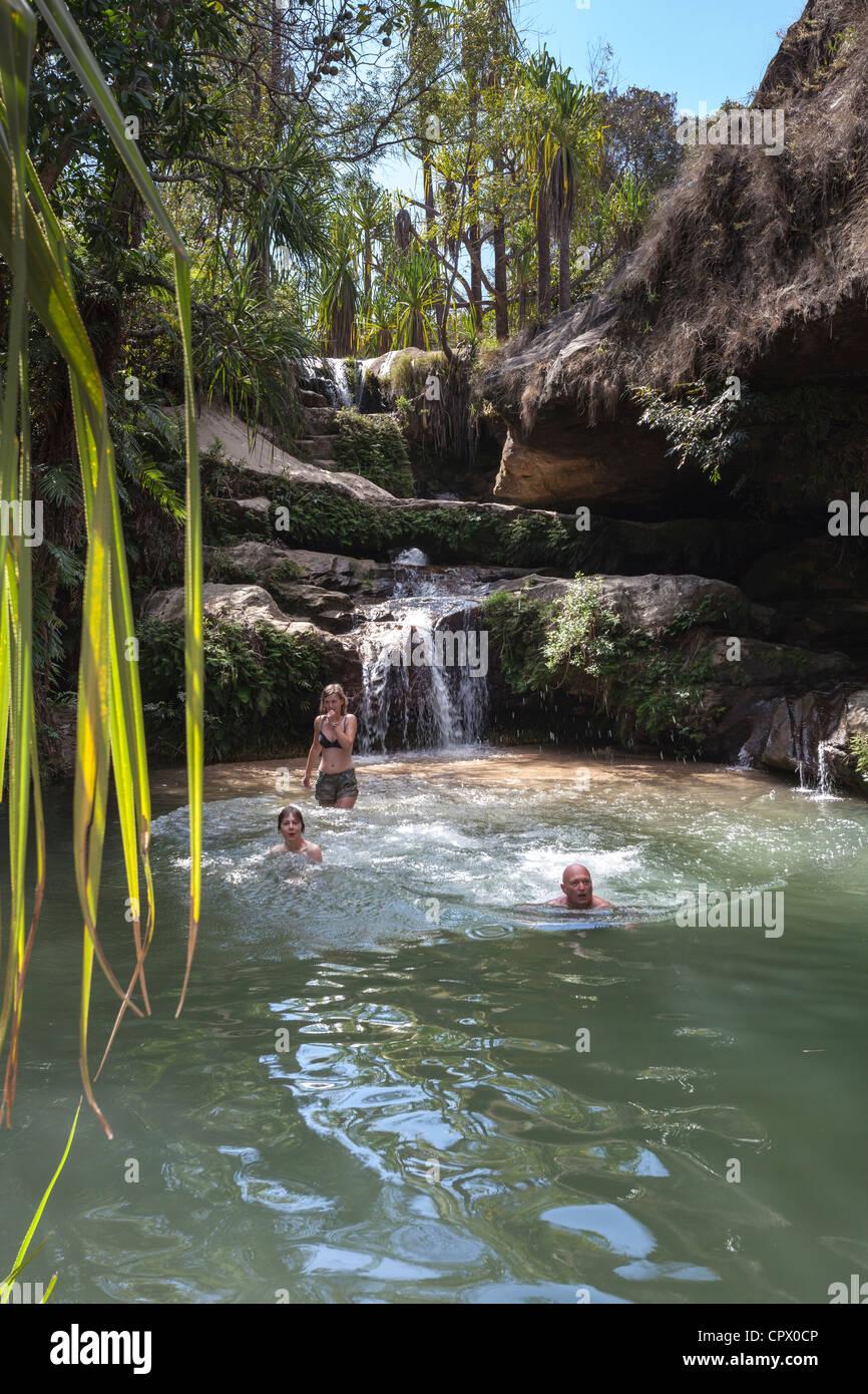oasis rock pool, Isalo National Park, Ihorombe Region of Madagascar. - Stock Image