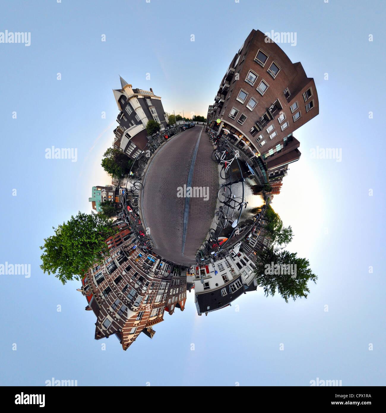 Lijnbaansgracht canal, Amsterdam, little planet effect - Stock Image