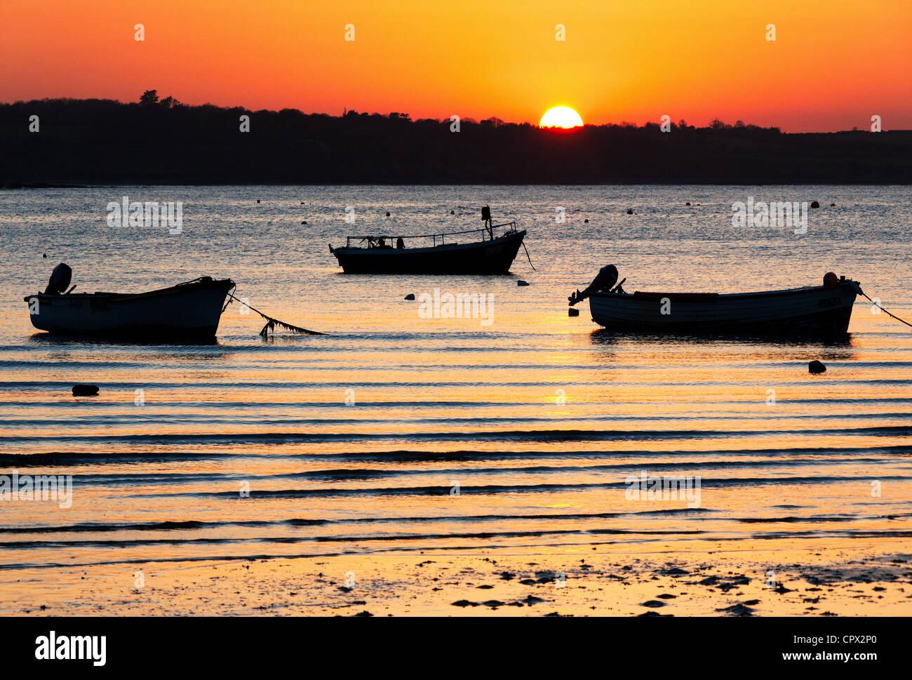 Sunset, skerries harbour, dublin, ireland - Stock Image