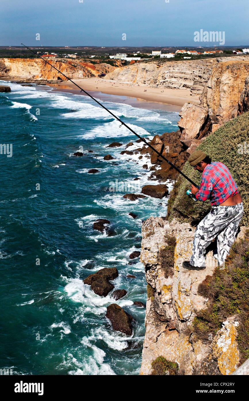 Cliff top fishing, fortaleza, sagres, portugal - Stock Image