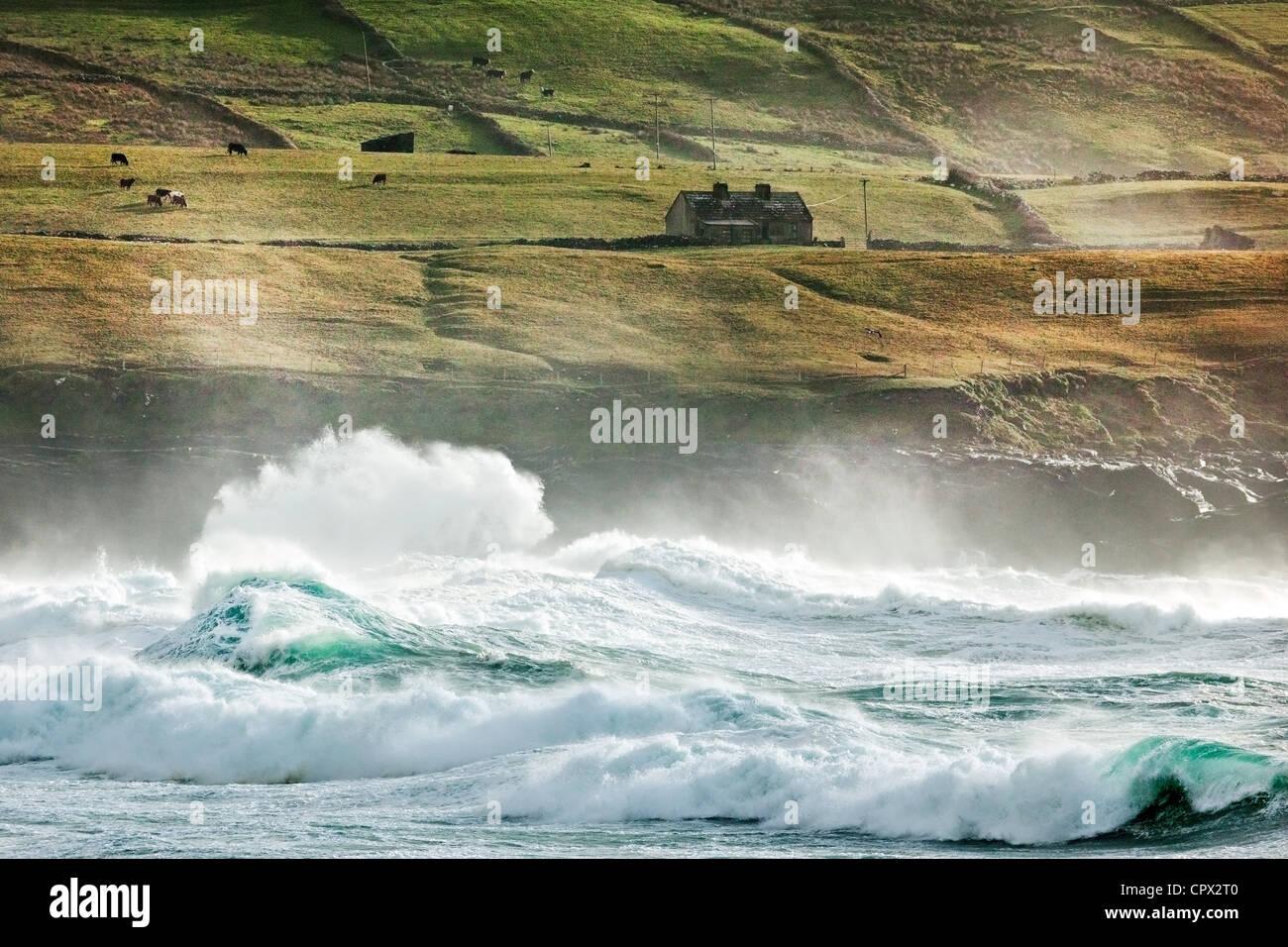 Waves, fisher street, doolin, county clare, ireland - Stock Image