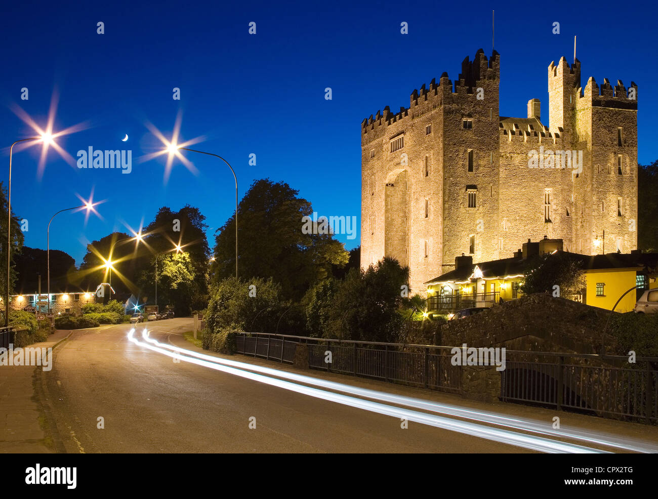 Bunratty castle at night, bunratty, county clare, ireland - Stock Image