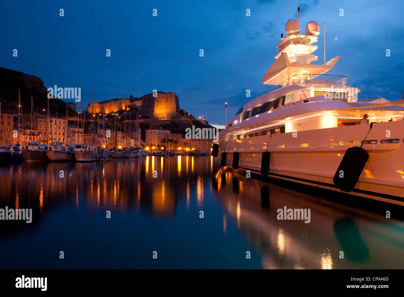 private yacht in the harbour at Bonifacio, Corsica, France - Stock Image