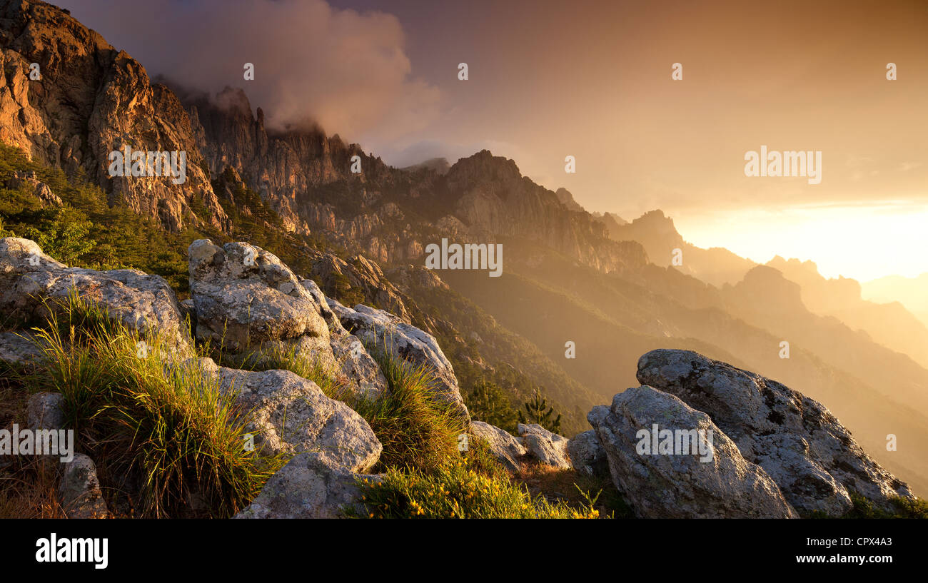 the Col de Bavella at dawn, Corsica, France Stock Photo