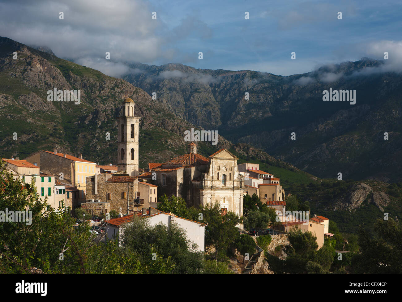 the village of Montemaggiore on the Route des Artisans, la Balagne, Corsica, France - Stock Image