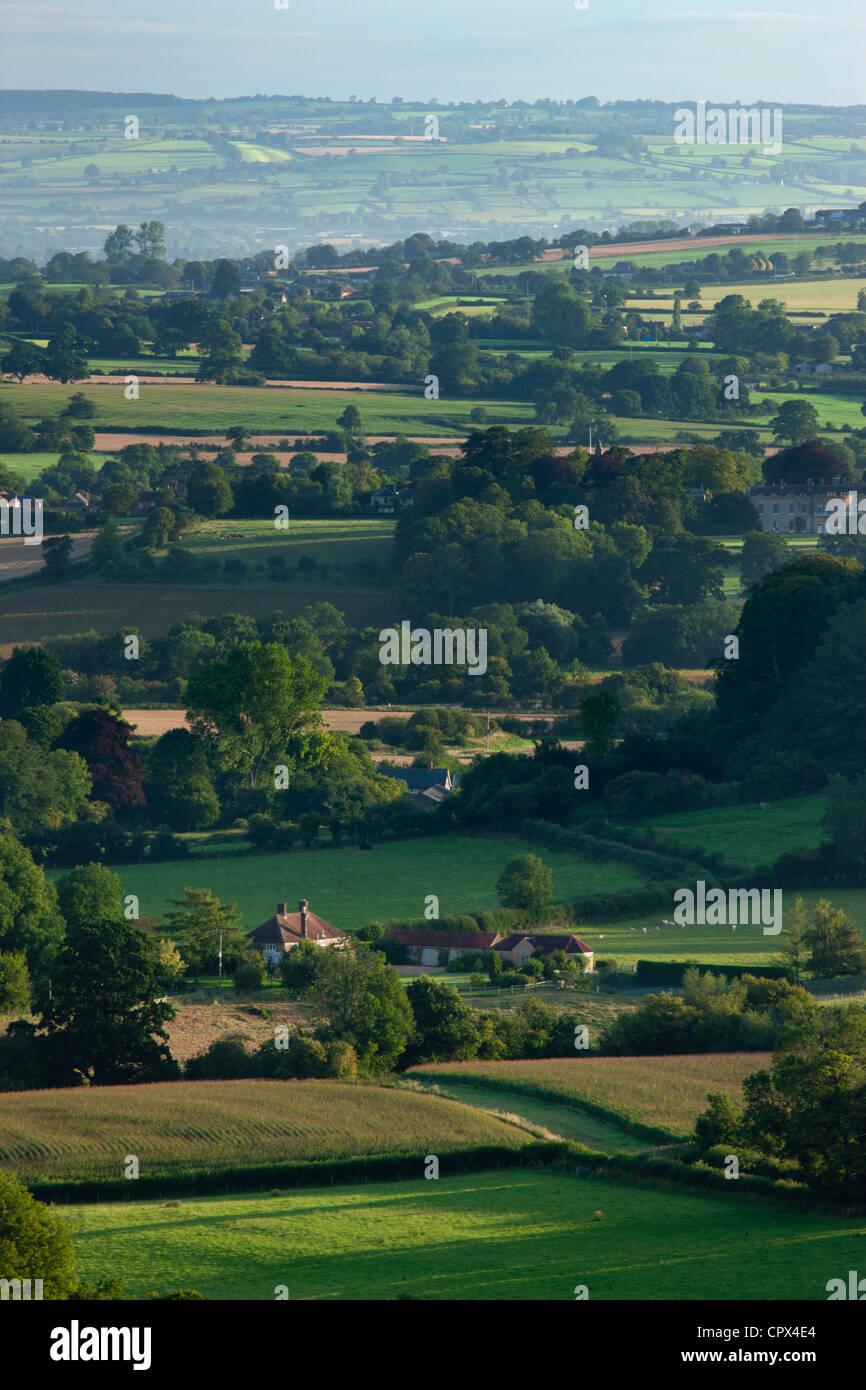 the rolling English countryside nr South Cadbury, Somerset, England - Stock Image