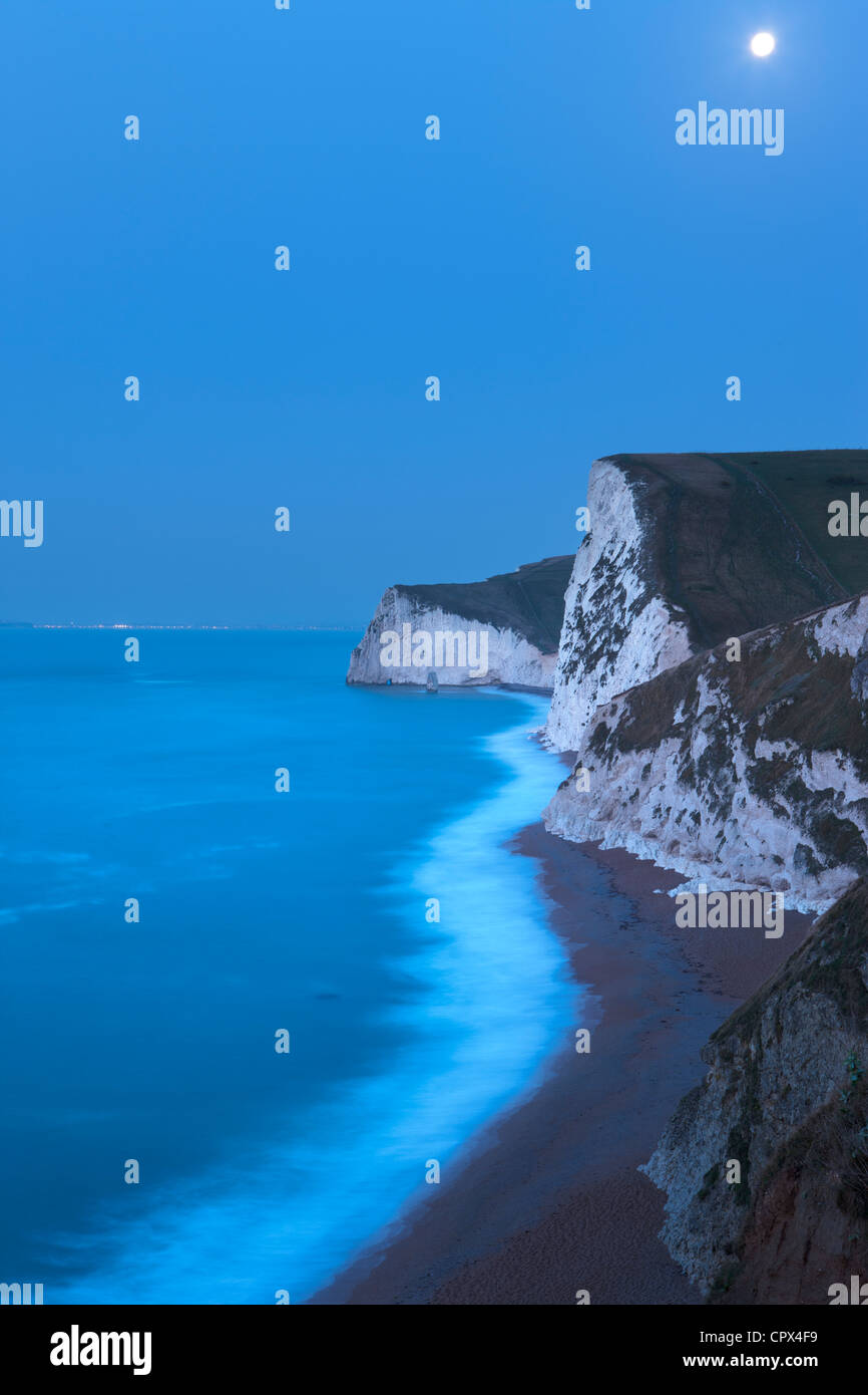 moonlight on the Jurassic Coast, with Portland beyond, Dorset, England, UK - Stock Image