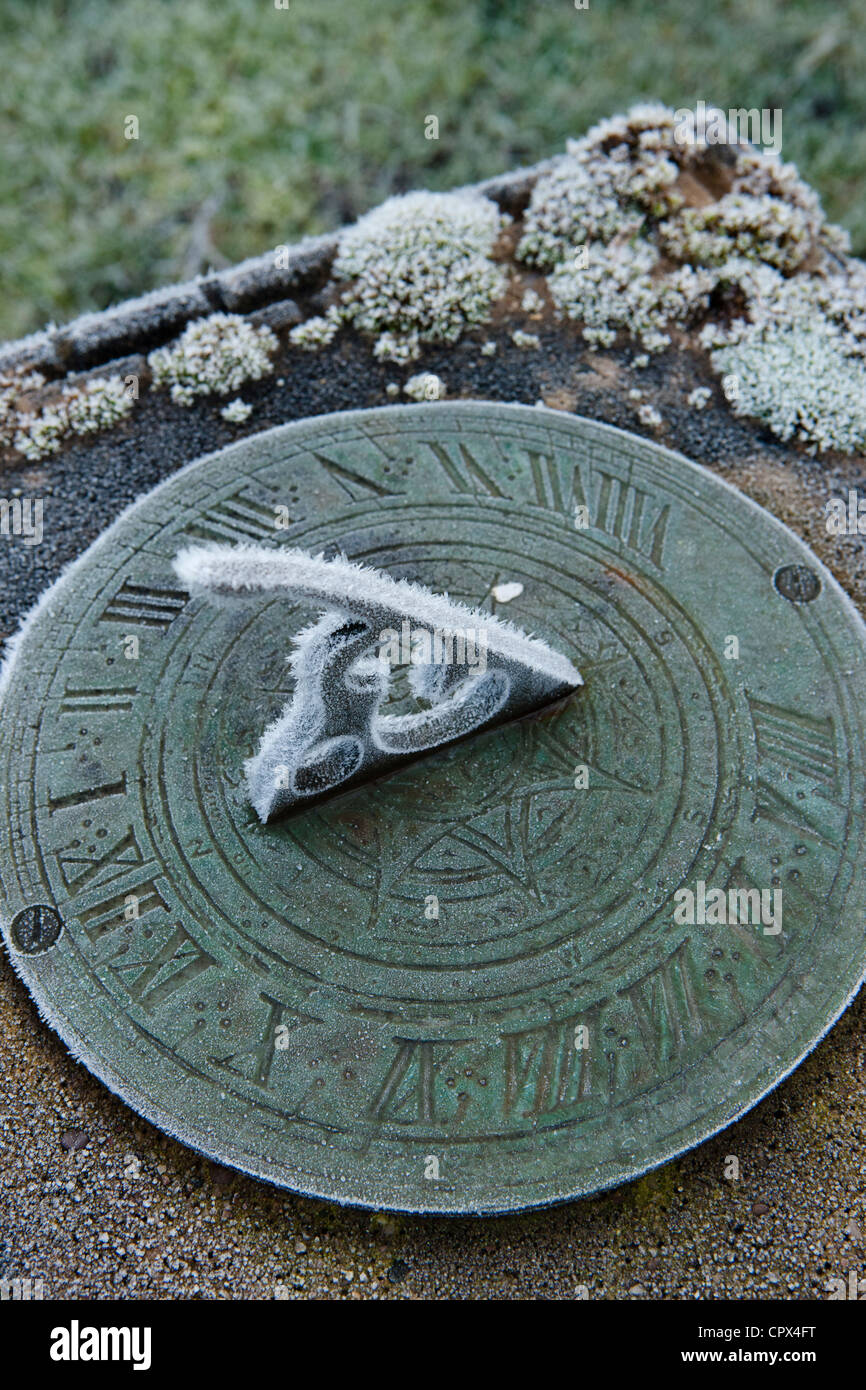 frost on the sundial in our garden, Somerset, England, UK Stock Photo