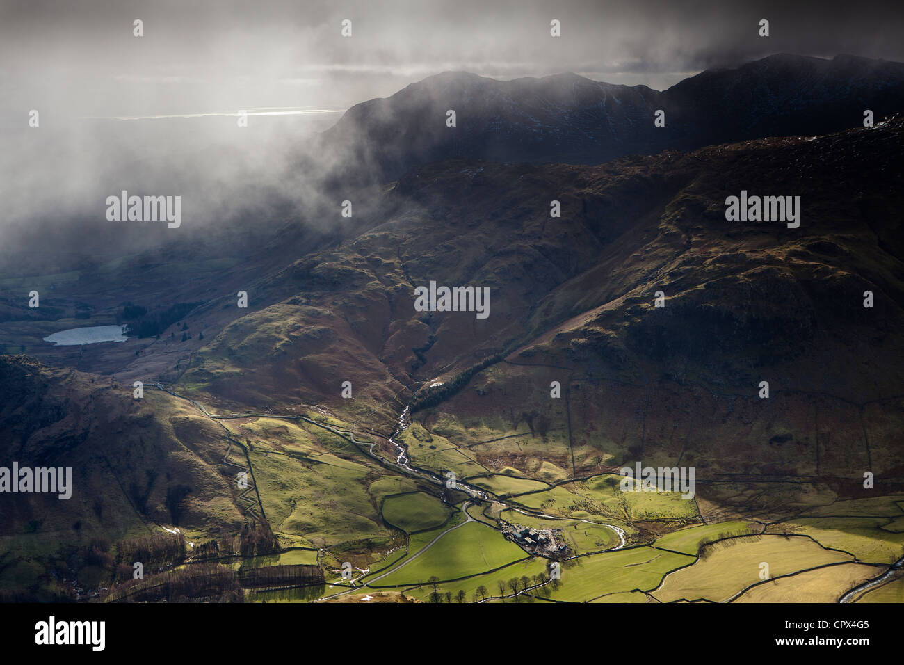 Langdale & Blea Tarn from the peak of Harrison Stickle, Langdale Pikes, Lakes District National Park, Cumbria, - Stock Image