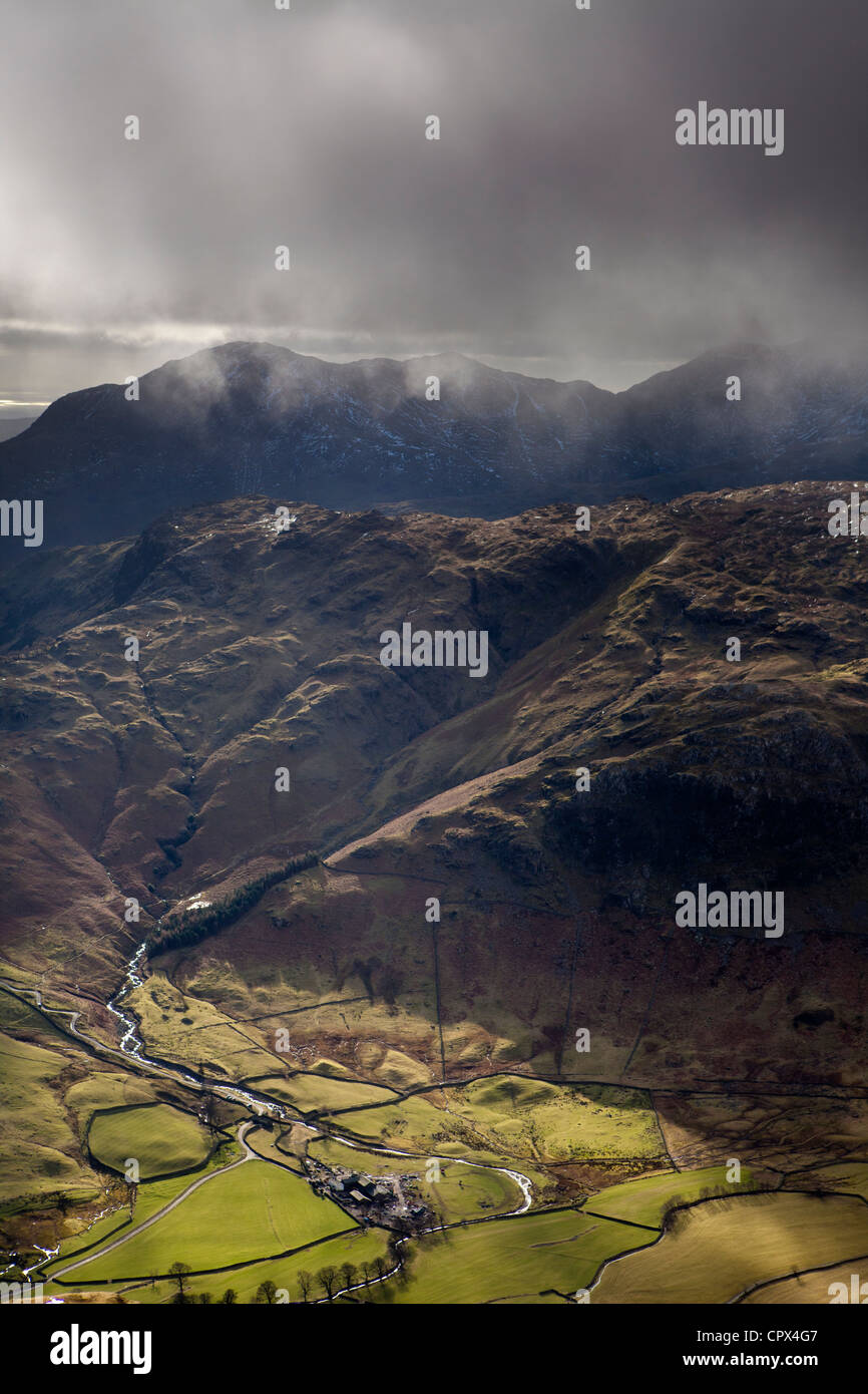 Upper Langdale from the peak of Harrison Stickle, Langdale Pikes, Lakes District National Park, Cumbria, England - Stock Image