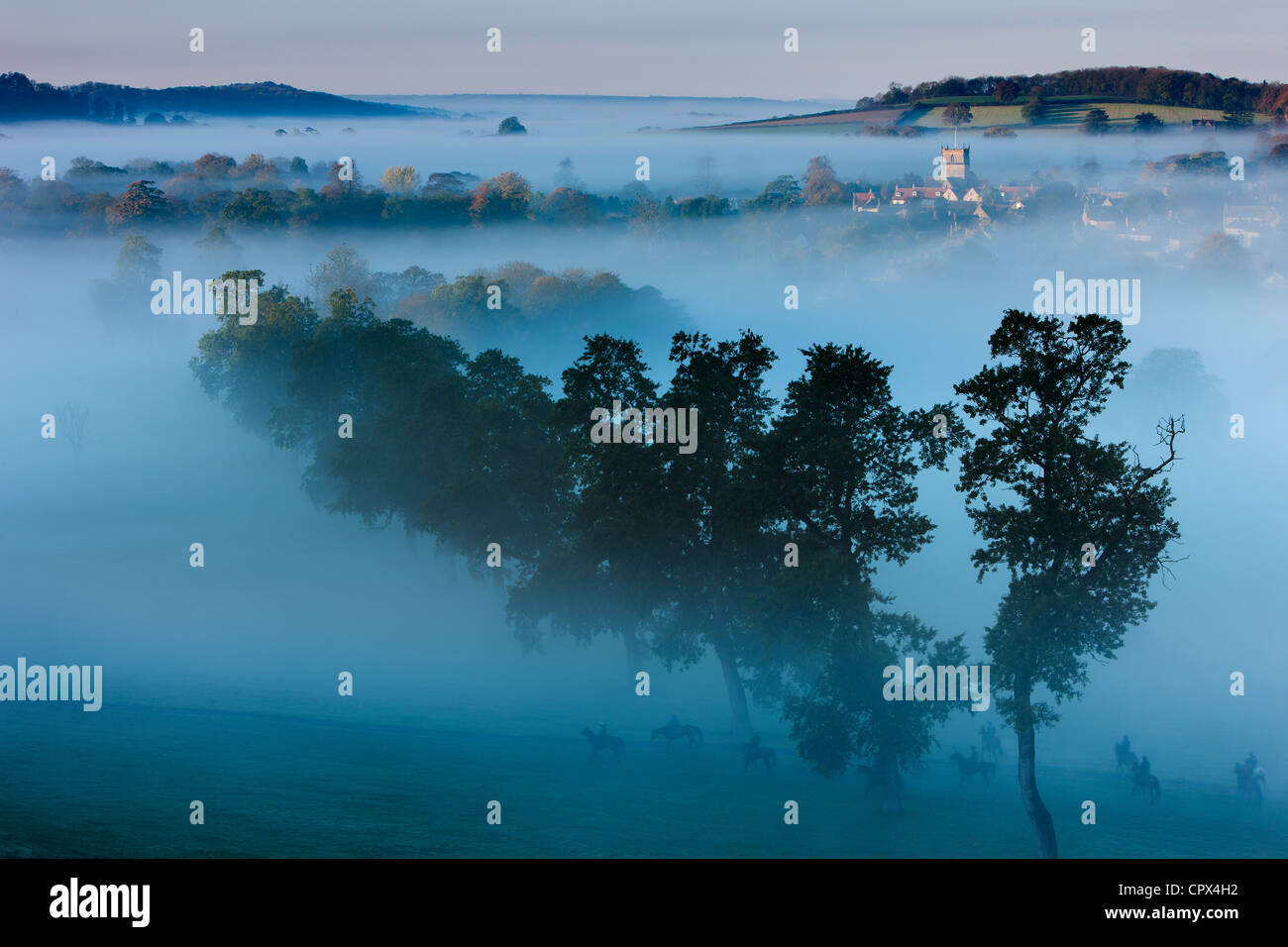 a misty autumn morning, Milborne Port, on the Dorset/Somerset Border, England UK Stock Photo