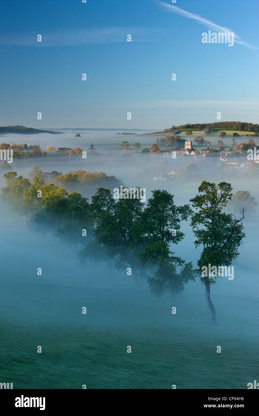 a misty autumn morning, Milborne Port, on the Dorset/Somerset Border, England UK - Stock Image