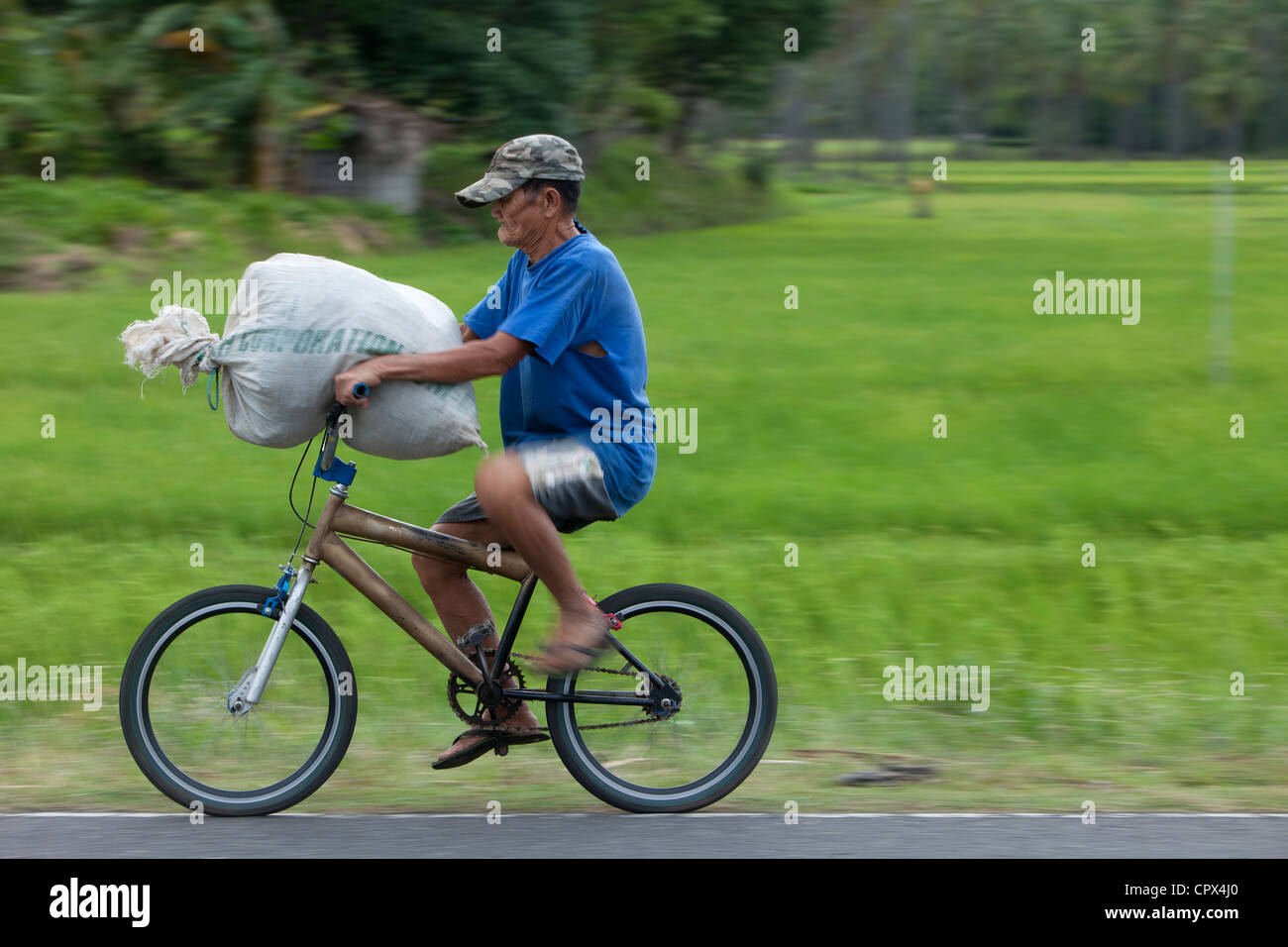 a man carrying a sack of rice on a bike, Negros, Philippines - Stock Image