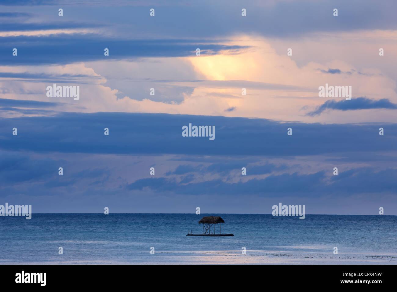 a diving platform off San Juan Beach at dusk, Siquijor, The Visayas, Philippines - Stock Image