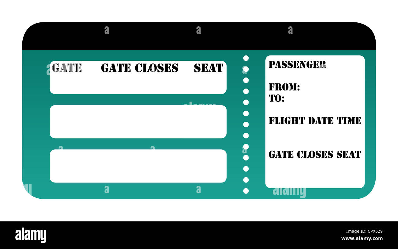 Blank Boarding Pass Isolated On White Background Stock Photo